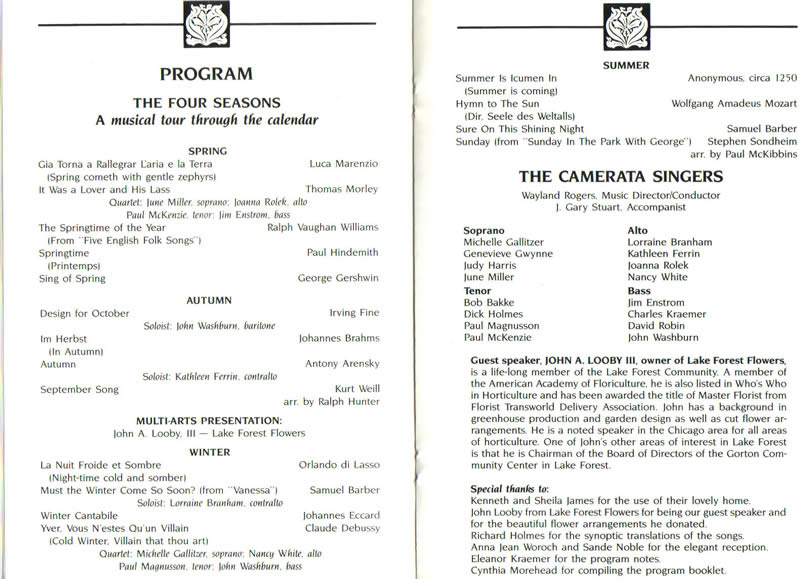 Themes From Past Programs, Camerata Singers