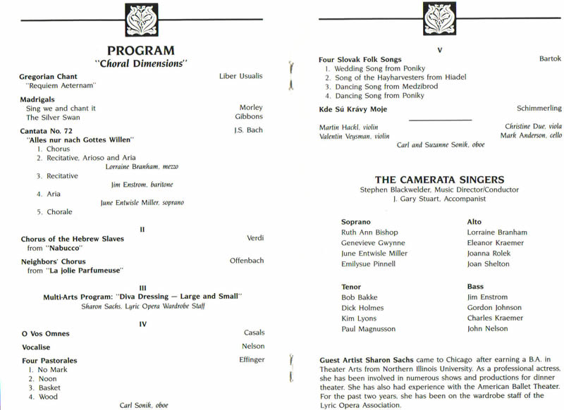 Sample church musical program.